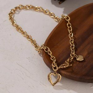 NEW 18K Gold Plated Heart Circle Toggle  Chunky Link Chain Necklace